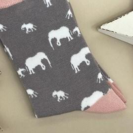 Bamboo Elephants Socks in Grey